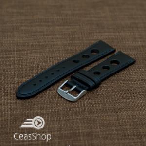 Curea piele GRAND PRIX neagra cusaturi negre 22mm - 36986