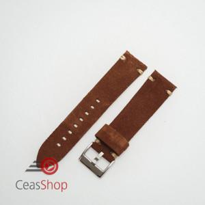 Curea piele maro închis, nubuk vintage 18mm - 4170218