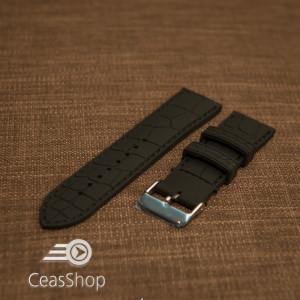 Curea silicon model crocodil neagră cusături negre 22mm - 45893