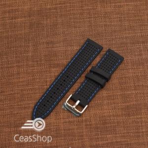 Curea silicon neagra cusaturi albastre 18mm - 47792
