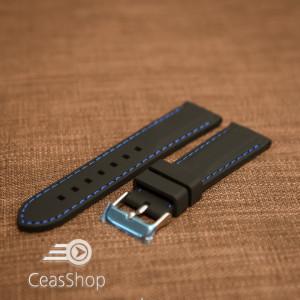 Curea silicon neagră cusături albastre 22mm - 42303