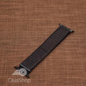 Curea tesatura tip NATO pentru Apple Watch neagra - 42mm
