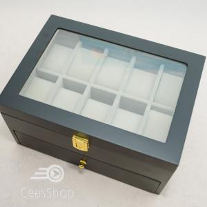 Cutie pastrare ceasuri lemn pentru 20 ceasuri neagră