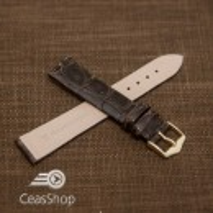 Curea crocodil maro inchis fara cusatura XL 22mm - 38730