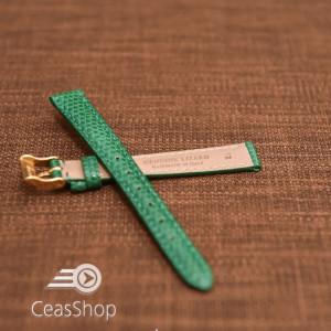 Curea piele de soparla captusita cu finisaj lacuit- verde- 12mm-33686