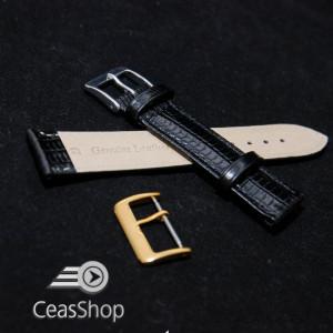 Curea piele soparla tegu captusita neagra 24mm - 38430