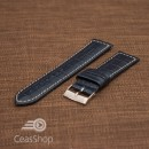 Curea piele vitel handmade albastru inchis  XL 22mm - 50521