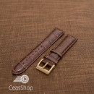Curea piele vitel, model crocodil maro inchis,captusita, lucioasa  22mm - 34831