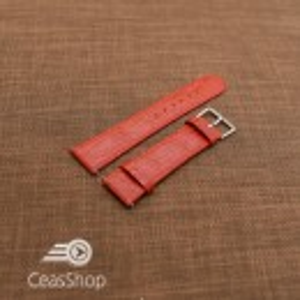Curea piele vitel plata model crocodil Elegance rosie 14mm - 34492
