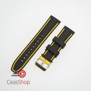 Curea silicon doua culori neagra cu galben 20mm- 51580