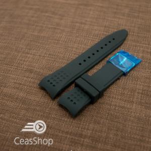 Curea silicon neagra capat curbat 24mm - 42326