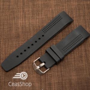 Curea silicon neagra capat curbat perforata 22mm