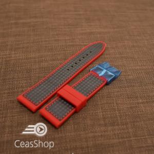 Curea silicon sport fibra carbon rosie cu negru 24mm - 38117
