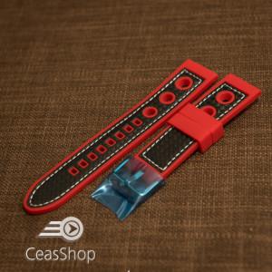 Curea silicon sport GRAND PRIX rosu cu negru 22mm - 38156