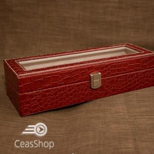 Cutie pastrare 6 ceasuri model crocodil rosie