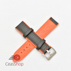 Curea hibrid silicon si piele fibra carbon neagra cu portocaliu 22mm - 4005622