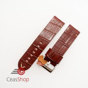 Curea piele maro roșcat model crocodil vintage QR 24mm - 4030824