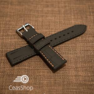 Curea silicon model crocodil neagră cusătură portocalie 18mm - 45895