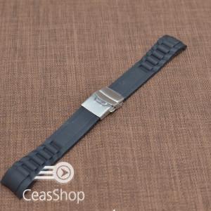 Curea silicon neagra capat curbat 18mm - 47974