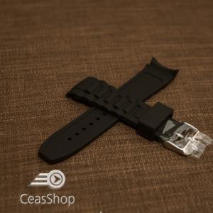 Curea silicon neagră capat curbat 20mm - 43398