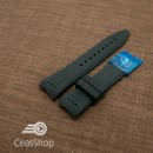 Curea silicon neagra capat curbat 22mm - 42325