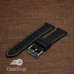Curea silicon neagră cusături galbene 24mm - 42292