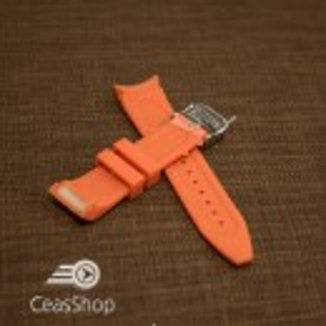 Curea silicon portocalie capat curbat 24mm - 43396