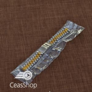 Bratara metalica reglabila bicolora aurie capete curbate 18-20mm - 20502