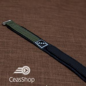 Curea din tesatura de nylon neagra cu verde sport cu arici 18mm - 37031