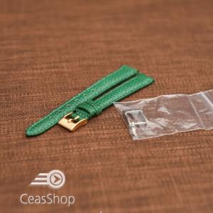 Curea piele de soparla captusita cu finisaj lacuit- verde- 12mm