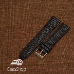 Curea piele de soparla captusita cu finisaj mat neagra 20mm - 47933