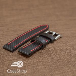 Curea piele fibra carbon neagra cusatura rosie 22mm - 37013