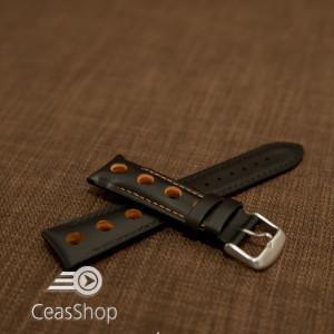 Curea piele GRAND PRIX captusită pe jumătate neagra cusaturi portocalii 20mm - 42206