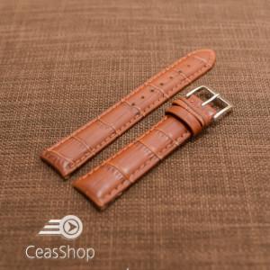 Curea piele vitel, model crocodil castaniu,captusita, lucioasa 18mm - 34833