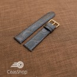 Curea piele vitel plata model crocodil Elegance albastra (Navy) 16mm - 34514