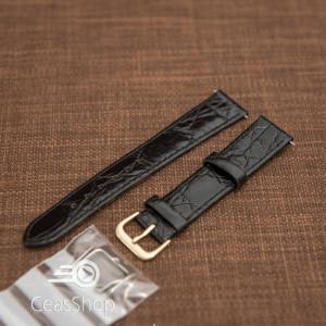 Curea piele vitel plata model crocodil Elegance neagră 18mm - 34466