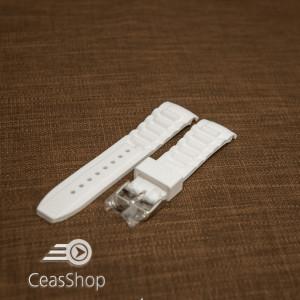Curea silicon alba capat curbat 22mm - 43401