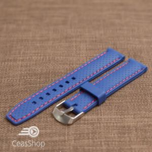Curea silicon albastra cusatura rosie 18mm - 34445