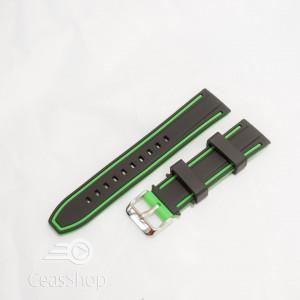 Curea silicon doua culori neagra cu verde 24mm- 51579