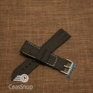 Curea silicon model crocodil neagră cusătură albă 22mm - 45905
