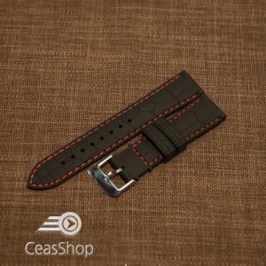 Curea silicon model crocodil neagră cusătură roșie 24mm - 45902