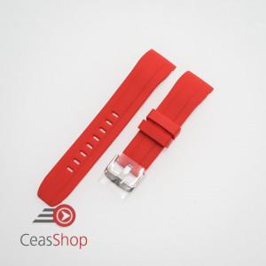 Curea silicon roșie capat curbat 22mm - 57210