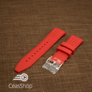 Curea silicon roșie capat curbat 24mm - 43394
