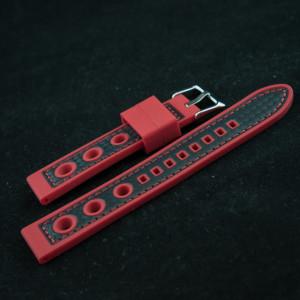 Curea silicon sport GRAND PRIX rosu cu negru 24mm - 38158