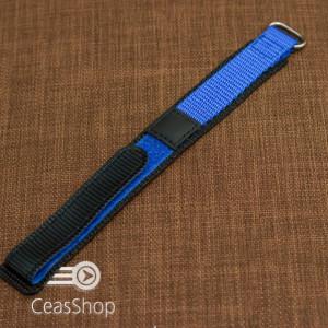 Curea din tesatura de nylon negru cu albastru sport cu arici 18mm - 34000