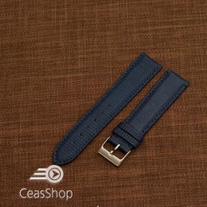 Curea piele de soparla captusita cu finisaj mat albastră navy 18mm - 47947