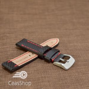 Curea piele fibra carbon neagra cusatura rosie 24mm - 37017