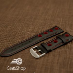 Curea piele GRAND PRIX captusită pe jumătate neagra cusaturi roșii 24mm - 42202