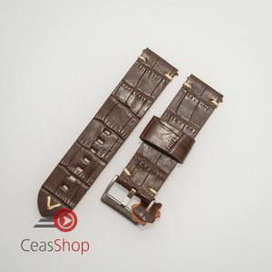 Curea piele maro închis model crocodil vintage QR 22mm - 4030222