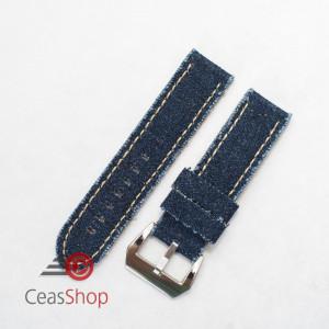Curea piele si jeans albastră 22mm - 390225